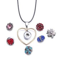 Wholesale noosa necklace diy resale online - Noosa Snap Button Jewelry Gold Heart Circle Pendant Snap Necklace DIY mm Snap Necklace Jewelry Women