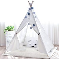 Wholesale indian tents resale online - Large Canvas Teepee Tent Kids Teepee Tipi with Grey Pom Poms Indian Play Tent House Children Tipi Tee Pee Tent NO MAT ZP050