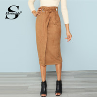 ingrosso gonna di lavoro marrone-Sheinside Brown Tie Waist Bodycon Gonna di lavoro Zip posteriore Mid-polp Wrap Knot Split Back Donna Elegante autunno matita Midi Gonna Y19043002