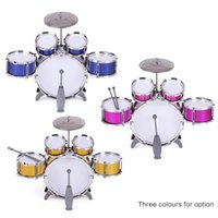 Wholesale musical cymbals resale online - Children Kids Drum Set Musical Instrument Toy Drums with Small Cymbal Stool Drum Sticks for Boys Girls