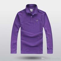 büyük polo gömlekler toptan satış-2017 sıcak moda erkek rahat ince uzun kollu timsah nakış Polo gömlek üst erkek İngiliz büyük boy T-shirt
