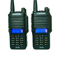 Wholesale radio vhf uhf car for sale - 8W Baofeng UV R Two Way Radio IP67 Waterproof Dual Band UHF VHF Walkie Talkie Ham Radio Car Amateur FM transmitter UV9R