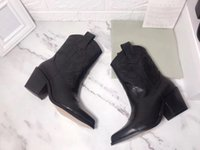 verkauf stiefel bestickt groihandel-Hot Sale-Designer Damenschuhe Western-Cowboy-echtes Leder-Boots gestickte Winterstiefel mit Pure Black Chunky Heels