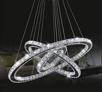 modern avize dairesi toptan satış-LED Kristal Avize Işık Modern LED Daire Avize Lamba Asılı Cilalar LED Halka Aydınlatma Ev Dekorasyon