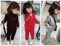 zebra elbiseler çocuklar bebeğim toptan satış-Boy kid set giysi giydirin marka kırmızı renk spor giyim seti bebek kız için elbise boyutu 90-150 yeni çocuk set giydirin yüksek kalite