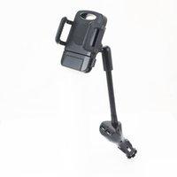 çakmak telefon tutacağı toptan satış-Çift USB Araç Şarj Çakmak Bankası 5 V 2.4A Cep Telefonu Araç Montaj Tutucu ile Hızlı Şarj