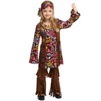 Wholesale girls fancy clothes resale online - 2019 Retro Hippie Girls Cosplay Carnival Halloween Costume Savage Fancy Disguise Aboriginal Clothing Dancing Dress Stage Performance costume