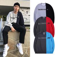 erkekler için mürettebatlı sweatshirtler toptan satış-Gosha Rubchinskiy Ekip Boyun Kazak Moda Renk-Blok Patchwork Terlemeleri Erkekler Kadınlar Boy Kazak Polar Hoodie Streetwear SHH1211