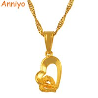 Wholesale small gold heart necklace resale online - Anniyo Heart small mini pendant necklace chain quot quot gold color love romantic jewelry fashion women girl nice gift