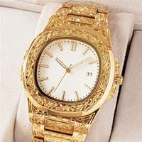 relojes bewegungsuhr großhandel-2019 PATEK PHILIPPE neue Art Markenuhr 39mm Luxusuhr Schnitzen Muster Stahlband Quarzwerk Herrenuhren Gold Uhren