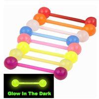 ingrosso barre di lingua acriliche-Palla acrilica BRIGHT Tongue Bars PIERCING Gioielli tounge 7 colori 100 pezzi Glow in Dark BELLY BARBELL