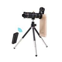 evrensel mobil mercek tripodu toptan satış-Evrensel Klip 15X23X Zoom Cep Telefonu Telefoto Lensler Ile Bluetooth Uzaktan Kumanda Tüm Smartphone Için Metal Tripod Ile Mobil Teleskop