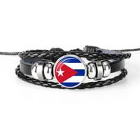 bracelets drapeau national achat en gros de-Bohème Tressé En Cuir Corde Perlé Manchette Bracelet Femmes Hommes Charme Cuba Drapeau National Coupe Du Monde Football Fan Temps Gemme En Verre Cabochon Bijoux