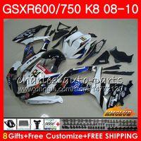siyah beyaz gsxr toptan satış-Kaporta SUZUKI GSX-R600 GSXR-750 GSXR600 2008 2009 2010 beyaz siyah yeni 9HC.64 GSXR750 GSX R750 R600 K8 GSXR 600 750 08 09 10 Kaplamalar