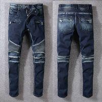 Wholesale clothes skinny men online - Mens Designer Pants Clothing Designer Pants Mens Designer Jeans Straight Biker Skinny Jeans Men Ripped Mens Jeans