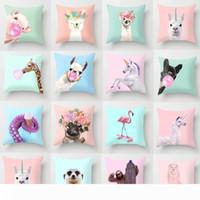 Wholesale llama decor resale online - 5pcs Cartoon Animal Unicorn Decoration Throw Pillows Case Cushion Cover Giraffe Sofa Car Home Decor x45cm Llama Alpaca