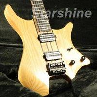 guitare double manche de qualité achat en gros de-JEN6107 Tête de guitare électrique sans tête de haute qualité à travers le corps de cendres double