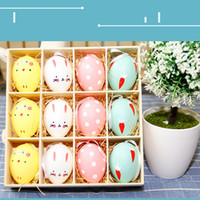 Wholesale painted easter eggs resale online - Colorful Baby Kid Drawing Painting pc Happy Easter Eggs Color Egg Birthday Gift Home Decoration Supplies