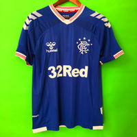 futebol qualidade tailandesa azul venda por atacado-Qualidade tailandesa 2019 2020 Glasgow Rangers 19 20 Casa Azul Camisas De Futebol Rangers Futebol jersey kit de futebol Camisas