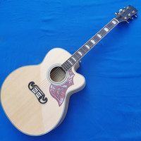 Wholesale jumbo maple guitar resale online - Natural cutaway cheap SJ model acoustic guitar hardcase