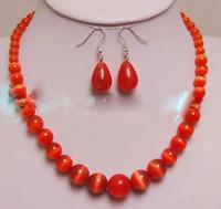 brincos de colar de coral vermelho venda por atacado-6-14 MM Red Opala Mexicana Colar + Brincos define estilo 100% Natural jóia opala gem CONJUNTOS de Prata De Quartzo pedra Cristal Mulheres
