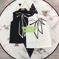t-shirts bedruckten stehkragen großhandel-Sommerfrauen Brief gedruckt Fliege T-Shirt mit ärmellosen Tops Mode High-End-Hemd Polyester Stehkragen ärmellose Frauen T