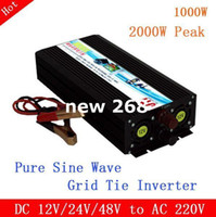 viento solar fuera de la red al por mayor-Freeshipping Pantalla LCD + LED de onda sinusoidal pura 1000W 12V / 24V / 48V a 110V / 220V Off Grid Tie Inverter para sistemas de energía solar / viento / gas con uso doméstico