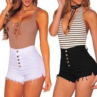 mini pantalon noir achat en gros de-Hot été femmes casual haute taille poche court mini bouton pantalon court noir blanc sexy shorts