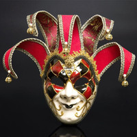 venezianische kostüme für männer großhandel-Full Face Männer Venezianischen Theater Jester Joker Maskerade Maske Mit Glocken Karneval Party Ball Halloween Cosplay Maske Kostüm