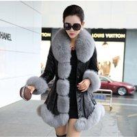 koyunkuşu tilki kürkü toptan satış-Kadın Koyun postu Coats Yüksek Kalite Faux Kürk Saf Renk Fox Yakalar çıtçıt Kürkler Büyük Yards İnce Kış Coat Z0359