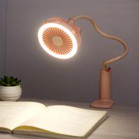ofis için mini fan soğutucu toptan satış-LED ışık ile taşınabilir USB Fan esnek 2 Hız Ayarlanabilir Soğutucu Mini Fan Handy Küçük Masa Masaüstü ev ofis gadget'lar için USB Soğutma Fanı