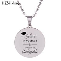 Wholesale graduation party glasses resale online - 2019 New Graduation Gift Stainless Steel Necklace Graduate Pendant Silver Handmade Jewelry Ball Chain Necklaces HZ7