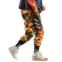 ingrosso pantaloni gialli per gli uomini-Mens harajuku giallo arancio camo harem pants uomo hiphop pantalon camouflage homme pantaloni plus size jogger streetwear 5XL CK31