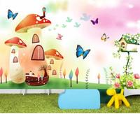 ingrosso case a farfalla per bambini-dimensioni personalizzate 3d foto wallpaper camera dei bambini murale casa dei funghi farfalla uccello 3d foto divano TV sfondo muro carta da parati non tessuto adesivo
