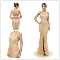 Wholesale high collar maternity wedding dresses resale online - 2019 Gatsby Vintage Mocha Luxury crystal Champagne Mermaid Evening Dresses Wear yousef aljasmi high Neck with cape arabic split Prom Gowns