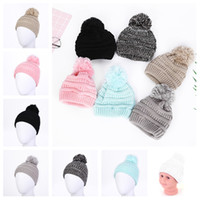 Wholesale baby soft crochet resale online - Cute Baby Knitted Hat Fashion Kids Warm Winter hats Soft Fur Pom Ball Caps Candy Color Crochet Beanie Cap T2C5076