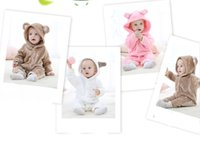 Wholesale bear jumpsuit winter online - Children s wear spring and autumn flannel bear animal shape romper baby solid color cartoon printed jumpsuit home clothing