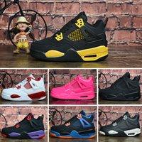 серая оранжевая обувь для баскетбола оптовых-Nike Air Jordan 4 Дешевые новые мужчины Jumpman 4 IV баскетбольные кроссовки 4S Белый Game Royal Оранжевый Синий Многоцветный Tattoo Red молодежные дети J4 кроссовки теннис J4