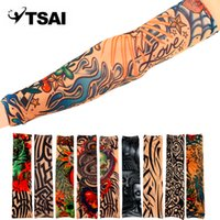 Wholesale fake tattoo skins resale online - 1Pcs Universal Fake Tattoo Elastic Arm Sleeve Sport Accessory Skins Sun Protective For Cycling Camping Running