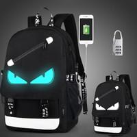 bolsa de livro escolar impermeável venda por atacado-Sacos de escola para crianças menino meninas Anime mochila escolar Luminosa à prova d 'água crianças livro saco de Carregamento USB Porta e Bloqueio Saco de Escola Y18120303