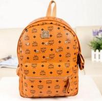 Wholesale outdoor shoulder backpacks for sale - Group buy Fashion Brand Designer Backpack Double Shoulder Bag PU Leather Outdoor Traveling Letter Printed Schoolbags for Women Students Backpacks