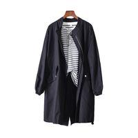 jacke koreanischen stil windjacke großhandel-La MaxZa Solide Casual Lose Frauen Trenchcoats und Jacken Harajuku Safari Style Designer Windjacke Korean Herbstmantel