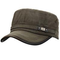 chapeaux ajustables achat en gros de-Hommes Femmes 100% Coton Réglable Twill Corps Plat Top Armée Plain Vintage Cadet Runner Golf Sports Militaire Casquette De Baseball Chapeau