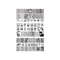 plantillas de dibujos animados al por mayor-3 Hojas de Impresión de Uñas Placas Nail Art Dibujos Animados Estampado Pintado Rectangular Manicura Plantillas de Imagen Plantillas Placa Hipster