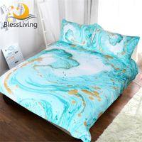 Wholesale aqua blue bedding sets resale online - Blessliving Chic Girly Marble Duvet Cover Mint Gold Glitter Turquoise Bedding Comforter Set Abstract Aqua Teel Blue Quilt Cover