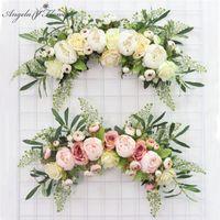 şakayak odası toptan satış-Yapay Çelenk Kapı Eşik Çiçek DIY Düğün Ev Salon Parti kolye Duvar Dekoru Noel Garland Hediye Gül Şakayık