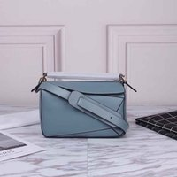 Wholesale leather evening bags resale online - high quality new style fashion genuine leather puzzle bag women shoulder bag geometric handbag evening bag