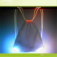 ingrosso zaini di stringa di stringa-7 colori esterna del LED della luce della stringa dello zaino Drawstring Studente di scuola del sacchetto Pacchetto Ciclismo Night Ride Zaino Sicurezza