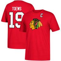 красные майки оптовых-18 19 Мужские спортивные футболки Chicago Blackhawks 19 # Джонатан Тоьюс 50 # Кори Кроуфорд 88 # Патрик Канестич Хоккейная майка Красный Черный ш