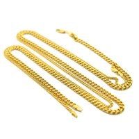 Wholesale 24k solid gold china resale online - JewelryStore999 mm inch mm inch Real K Yellow Gold Rhodium Plated Solid Cuban Curb Chain Mens Necklace Hip Hop Jewelry Star Style